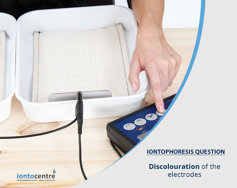 Discolouration of the electrodes